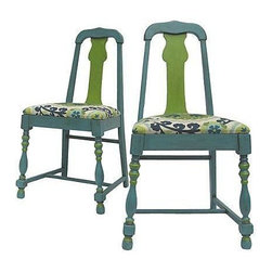 """Pre-owned Suzani Print Accent Chairs - A Pair - You have to love the funky shape of these vintage side chairs. Newly hand painted with clay/chalk paint and finished with dark wax. Newly upholstered with Suzani inspired print. Sure to liven up your room.    Seat Height measures 18""""."""