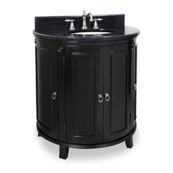 Lyn Design - Demi-lune Vanity in Espresso Finish - Includes backsplash. Faucet not included. Traditional style. Black granite top. Faucet holes cut for 8 in. spread. 0.79 in. x 4 in. backsplash. Four doors. Two interior pull out drawers add extra storage. Drawers equipped with soft close ball bearing slides. Large center cabinet for towels and linens. Carved rosettes and fluted detailing. Side shelves provide ample storage. Made from birch solid wood and veneers. Bowl: 15 in. W x 12 in. H. Vanity: 33.25 in. W x 22.75 in. D x 35.5 in. HThis solid wood vanity's curved demi-lune shape is taken from classic Art Deco furniture.