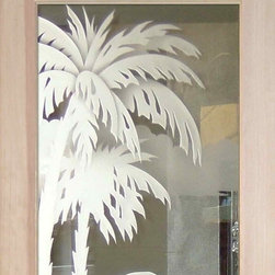 """Interior Glass Doors - Desert Palms 3D - CUSTOMIZE YOUR INTERIOR GLASS DOOR!  Interior glass doors or glass door inserts.  .Block the view, but brighten the look with a beautiful interior glass door featuring a custom frosted glass design by Sans Soucie!  ship for just $99 to most states, $159 to some East coast regions, custom packed and fully insured with a 1-4 day transit time.  Available any size, as interior door glass insert only or pre-installed in an interior door frame, with 8 wood types available.  ETA will vary 3-8 weeks depending on glass & door type........  Select from dozens of sandblast etched obscure glass designs!  Sans Soucie creates their interior glass door designs thru sandblasting the glass in different ways which create not only different levels of privacy, but different levels in price.  Bathroom doors, laundry room doors and glass pantry doors with frosted glass designs by Sans Soucie become the conversation piece of any room.   Choose from the highest quality and largest selection of frosted decorative glass interior doors available anywhere!   The """"same design, done different"""" - with no limit to design, there's something for every decor, regardless of style.  Inside our fun, easy to use online Glass and Door Designer at sanssoucie.com, you'll get instant pricing on everything as YOU customize your door and the glass, just the way YOU want it, to compliment and coordinate with your decor.   When you're all finished designing, you can place your order right there online!  Glass and doors ship worldwide, custom packed in-house, fully insured via UPS Freight.   Glass is sandblast frosted or etched and bathroom door designs are available in 3 effects:   Solid frost, 2D surface etched or 3D carved. Visit our site to learn more!"""