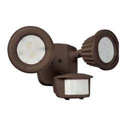 Designers Edge Lighting - LED Outdoor Flood Light with Motion Sensor - L-6015-BR - This outdoor LED flood light is energy efficient and durable. A super bright LED in each head lasts for 100,000 hours and uses only 3 watts of power each. You will never have to worry about climbing a ladder to change another bulb. The integrated motion sensor can be adjusted for sensitivity and light duration. Constructed of cast metal, this light can withstand the harshest of environments. The heads can be positioned vertically and horizontally. Includes a driver for proper power conversion. Takes (2) 3-watt LED bulb(s). Bulb(s) included. Wet location rated.