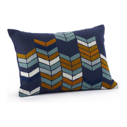 "Coyuchi Chevron Stack Pillow in Indigo - Multicolored arrows make a bold statement on the Chevron Stack Pillow in Indigo, crafted from 100% natural linen with wool applique. Crewel stitching on wool chevrons gives this pillow a sense of rhythm and motion. Subtle texture and the mix of neutral and warm colors make this a perfect pillow for bed, couch, or chair. Natural coconut shell buttons keep the cover in place on the removable kapok insert.   Dimensions: 14""H x 20""W   Care: Covers may be hand or machine washed in cold and line dried. Kapok inserts may be fluffed in a warm dryer for 15 minutes, and machine washed in cold, then tumble dried on warm."