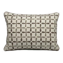 "Kevin O'Brien Studio - Petals Linen Pillow, Taupe, 16x20"" - This delicately embroidered linen pillow makes a beautiful rustic companion to the velvet version of the petals pattern; zip closure; comes with a feather/down insert"