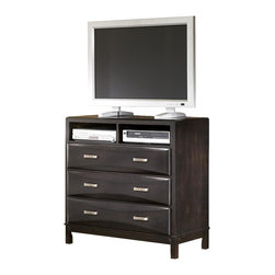 ivgStores Furniture - Contemporary Media Chest w 3 Beveled Drawers - Urbane, intelligent media chest puts a modern face on traditional storage. Here's the home for your high-tech equipment and more. 3 beveled drawers have sleek silver-tone pulls. 2 open shelves house DVD players and more. Wood unit finished with black stain. Color/Finish: Black. Made with select veneers and hardwood solids. Felt drawer bottom on select drawers. Aged bronze colored hardware. Shaped overlay drawer fronts. 41 in. W x 20 in. L x 40 in. H