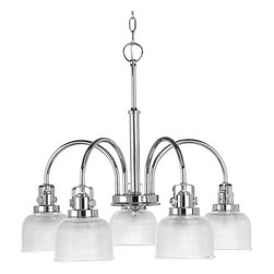 Progress Lighting - Progress Lighting P4689-15 5-Light Chandelier with Clear Prismatic Glass Shades - Progress Lighting P4689-15 5-Light Chandelier with Clear Prismatic Glass Shades