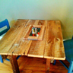 """AUstin Kids Trough Table - The ideal table for art projects or any other need, the Austin trough table features a center tin trough for storage and a reclaimed wood top. A must have for everyday fun and dining. Free Local Nashville delivery 32""""W x 20"""" L x 18"""" H"""
