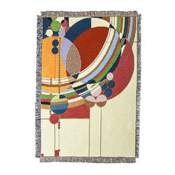"""Frank Lloyd Wright Collection - Frank Lloyd Wright March Balloons Tapestry Throw - The Frank Lloyd Wright March Balloons Tapestry Throw is adapted from an unpublished Liberty magazine cover design (1926-1927). The abstract motif designed by Frank Lloyd Wright for the March cover depicts a group of colorful balloons rising into the sky. The editors thought that the series of designs were too """"radical"""" and were never used. Developed in association with the Frank Lloyd Wright Foundation, the throw measures 48"""" x 68"""". 100% cotton. Machine washable and dryable."""