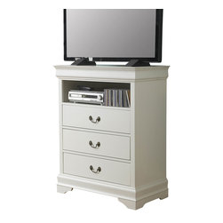 Homelegance - Homelegance Marianne 32 Inch TV Chest in White - The Marianne collection brings the most popular furniture silhouette together with casual painted white or black finishes to create a great choice for youth and guest bedrooms. We have modified the classic lines of the bed by adding low-profile footboard creating a lighter, more airy feel. The Marianne collection is the best of both comfortable style and simplicity.