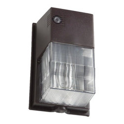 Hubbell Outdoor - Hubbell NRG 50W Pulse Start Metal Halide Outdoor Wallpack with Photocell - Entry or perimeter security lighting applications for commercial buildings, shopping centers, schools, and apartment complexes.