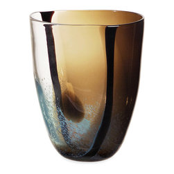 Ceylon Glass Vase - This vase's rich, gem-stone colors and a glistening quality evokes the north African influence in Venice, Italy. With swirling patterns and its calming, earthen hues, the Ceylon Glass Vase adds a contemporary touch to any home.