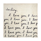 Kathy Kuo Home - Darling I Love You' Reclaimed Wood Art Print Wall Art - Top - Here's a darling wall hanging that shows your love of family, art and home. Created in Georgia, this handwritten note is printed then framed with reclaimed wood for a one-of-a-kind statement. You can choose one or get two corresponding top and bottom pieces — just in case your message isn't quite clear enough with one.