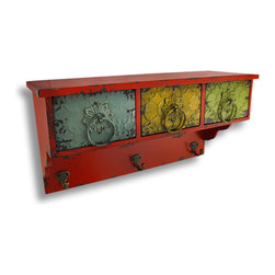 Zeckos - Distressed Finish Decorative 3 Drawer Wall Shelf with Hooks - This decorative wall shelf adds a touch of country chic and a splash of color to any room with its distressed finish and antique inspired colorful and ornate metal drawers. Each drawer is 5 1/4 inches long, 5 3/4 inches wide and 3 3/4 inches deep, and has a coordinating pull ring for easy opening, and are perfect for storing smaller items such as matches and extra candles, winter hats and gloves, pens and pencils or stash extra keys and loose change. Made of wood, this wonderful piece has an appealing distress finish and is painted in a vibrant red and measures 19 inches long, 10 inches high and 6 3/4 inches wide with three metal hooks to hang coats, towels, or your favorite hanging display items. It easily hangs on the wall via the attached keyhole hangers on the back. Display candles on the top shelf and hang it in a bathroom or bedroom to add a soft glow, or show off your favorite framed pictures in a hall or entryway. Wherever you choose, this wall shelf with its vintage-vibe is sure to receive rave reviews.