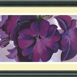 Amanti Art - Petunias, 1925 Framed Print by Georgia O'Keeffe - Don't beat around the bush — pop out with purple! American icon Georgia O'Keeffe became famous for her bold, poetic flower forms. Now you can have a piece of Georgia in your home with this trio of pretty petunias in full bloom set against a pale lavender background.