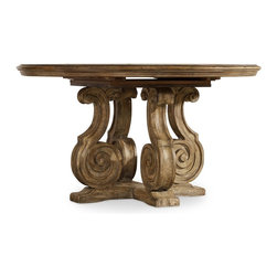 """Hooker Furniture - Solana 54"""" Pedestal Dining Table - White glove, in-home delivery included!  Luminous and fresh, Solana is a refined rustic, opulent yet casual collection that celebrates the look of natural wood bathed in sunshine.  One 20"""" leaf extends table to 74"""" long."""