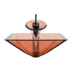 MR Direct - MR Direct 603 Coral Colored Square Glass Sink, Oil Rubbed Bronze, 4 Items: Vesse - Make a personal design statement with the MR Direct 603-coral ensemble; a distinctive, vessel-sink and waterfall-faucet combination. MR Direct glass vessel sinks are created of thick, tempered glass, making them less vulnerable to damage from high temperatures. The non-porous, polished surface is extremely attractive and sanitary; naturally resistant to stains, odors and discoloration. The waterfall faucet features solid-brass construction and a matching glass disc, over-which water lightly cascades into the vessel bowl. Water flow and temperature are easily controlled with the extended swivel handle. The ensemble includes a specially-designed, vessel pop-up drain that springs into place with a gentle touch. A matching sink ring is also provided for support of the bowl – required for the above-counter installation. Available in your choice of Brushed Nickel, Chrome, and Oil Rubbed Bronze finishes. Limited Lifetime Warranty.