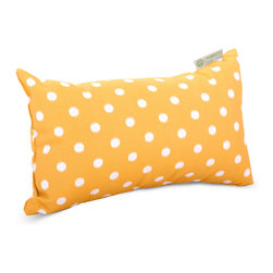 Majestic Home - Outdoor Citrus Ikat Dot Small Pillow - Whether you need an extra head or back cushion while you're kicking back on the deck or in the den, or you'd just like to add a little color to your chair or settee, this little dotted pillow has you covered. Stylish yet durable, its designed to fit into your everyday life, with a comfy and casual recycled fiber fill and a cute printed cover that's safe for outdoor use and easy to remove for cleaning.