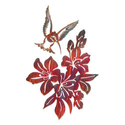 Lazart - Rustic Azalea and Hummingbird Metal Wall Art Kathryn Darling - The  tiny  hummingbird  is  captured  in  flight  with  this  rustic  metal  wall  art.  As  the  hummingbird  hovers  over  the  blossoming  azaleas,  preparing  to  sip  sweet  nectar,  our  metal  artist  has  skillfully  laser  cut  the  scene  from  cold-rolled  steel  and  given  it  a  hand  brushed  color  wash.  Through  a  heat  transfer  process  he  creates  vibrancy  and  warmth  deep  within  the  color  finish  for  a  glowing  sheen  that  transfixes  the  eye.  Perfect  for  rustic,  nature  themed  or  cottage  decors,  this  metal  wall  art  is  a  joy  to  the  heart  anytime.            See  more  nature  metal  art.                  2  piece  set              Hand  applied  color  wash  finish  adds  rich  color  to  details              Rich  shades  of  red  add  variation  and  vibrance  to  this  metal  art