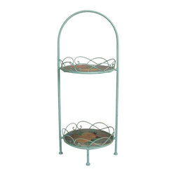 Oriental Furniture - Vintage Fruit Display Stand - Vintage two-tier fruit display stand. Wood tray beds have decoupaged faded vintage fruit images. Wrought iron frame and decorative tray rim finished in an antique powder blue. Display trinkets or candles in the kitchen or dining room.