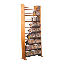 CD Racks - Solid Oak 9 Row Dowel CD Rack - Handcrafted by the Wood Shed from durable solid oak hardwood