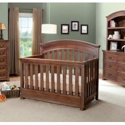 Simmons Chateau 4 in 1 Convertible Crib Collection - The Simmons Chateau 4 in 1 Convertible Crib Collection is the perfect choice for a traditional and enduring style of nursery. The classic look of this convertible crib is constructed from solid wood with soft detailing employed on all edges and corners. This durable crib grows with your child by easily converting into a toddler bed, daybed, and finally a full-size bed with head and footboards. Built to last, this crib adjusts to three different heights and contains a metal frame mattress support with helical spring and metal fabric. Mattress, daybed rail, toddler guard rail kit, and crib conversion rails are sold separately. Complete the look in your nursery with other optional pieces from the Chateau Collection that will last long after you've changed his last diaper! An optional chest, dresser, and hutch offer plenty of storage to go along perfectly with the Chateau Crib.Optional Piece Dimensions:Chest: 37L x 19.25W x 46.5H in.Dresser: 55W x 34.75H x 19.25D in.Hutch: 55L x 13.5W x 42.5H in.Simmons Kids: The Natural Choice for BabyFrom a company equated with a good night's sleep come the same high-quality products geared for babies and kids. Exciting lines and collections offer the latest and enduring styles for the nursery and the years beyond. Convertible cribs, beautiful dressers and chests, and everything else you can imagine for the nursery is well-crafted by Simmons. Best of all, every piece of Simmons Kids Furniture meets or exceeds federal safety standards.