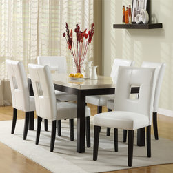 Tribecca Home - TRIBECCA HOME Mendoza White 7 Piece Modern Casual Dining Set - This beautiful white 7 piece dining set would make a stylish addition to your dining room. The comfortable white faux leather chairs feature a contemporary cut out back detailing that would make this elegant set ideal for entertaining.