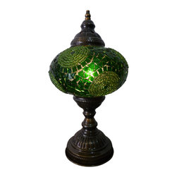 One of a kind Green Color Tribal Mosaic Lamp - Emerald Circles - Authentic Desk Lamp , Moroccan Style Lamp , Night Lamp, Exotic Lamp