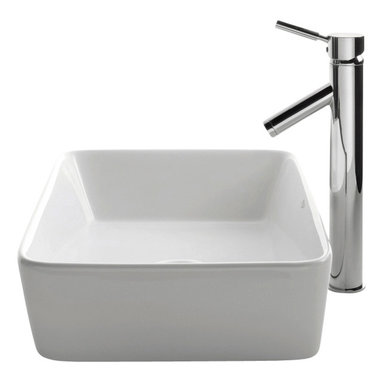 Kraus - Kraus C-KCV-121-1002SN White Rectangular Ceramic Sink and Sheven Faucet - Add a touch of elegance to your bathroom with a ceramic sink combo from Kraus