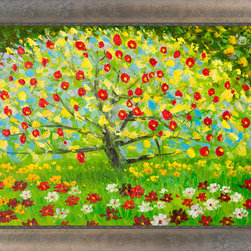 "overstockArt.com - Klimt - The Apple Tree with Silver Scoop with Swirl Lip - Silver Frame with Cham - 24"" X 36"" Oil Painting On Canvas Hand painted oil reproduction of a famous Klimt painting, The Apple Tree. The original masterpiece was created in 1912. Today it has been carefully recreated detail-by-detail, color-by-color to near perfection. Gustav Klimt (1862-1918) was one of the most innovative and controversial artists of the early twentieth century. Influenced by European avant-garde movements represented in the annual Secession exhibitions, Klimt's mature style combines richly decorative surface patterning with complex symbolism and allegory, often with overtly erotic content. This work of art has the same emotions and beauty as the original. Why not grace your home with this reproduced masterpiece? It is sure to bring many admirers! Frame Description: Legacy Gold Frame - Gold Finish Framed painting size (not including frame): Large 24"" X 36"" . Framed Oil reproduction of an original painting by Gustav Klimt"