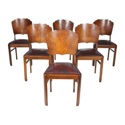 """Pre-owned Art Deco-Style Dining Chairs - Set of 6 - Set of six Swedish art deco-style oak dining chairs. Seats have been recovered in the last 20 years with Naugahyde. Seat are removable for easy recovering. some wear, small veneer repair.    Seat height is 18""""."""