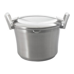 "Berghoff - Berghoff Auriga Stainless Steel Covered Stockpot 10"" - The patented 6-layer base transfers heat quickly and spreads evenly throughout the complete surface of the base. 18/10 stainless steel body with white stay cool handles. Practical scaling inside. Convenient pouring rim and the design of the handles on body and lid offer hassle-free pouring of liquids. Suitable for all heat sources, induction included."