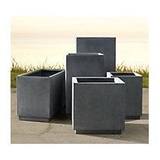 Cube Sheet Metal Planters Weathered Zinc