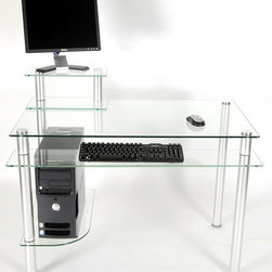RTA Home & Office - Glass & Metal Computer Desk with Monitor Pedestal - With a thick and sturdy clear tempered glass top, this sleek contemporary computer desk is a practical solution to staying organized.  The desk is supported by round metal tubing making it attractive and sturdy, while the two shelves provide generous storage space for the printer and tower.  Lots of knick knacks and goodies will fit in all the space on this classy student computer workstation.  Glass top with pedestal for monitor and extra space for your computer CPU unit.  Round metal tubing supports thick 8mm tempered glass. * Thick 8mm tempered clear glass desk top. Stationary Glass Keyboard Tray/Shelf. Two shelves provide ample storage space for printer and the tower. Desk is supported by round metal tubing making this desk versatile as well as attractive. Easy to assemble. Accessories not included. 29.25 H X 42.5 W X 24 D