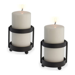 Danya B. - Set of 2 Metal Candleholders on Rustic Cylinder Stands.. - Flank your mantle or patio table with these rustic cylinder candleholders and enjoy some modern romantic ambience in your decor. Crafted from durable iron with a smooth black finish, they will work well both indoors and out.