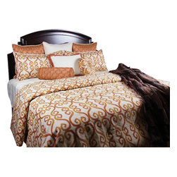 Ginger Coverlet Set, King - A bright fun Tangerine scroll pattern on Oatmeal fabric with an assortment of Taupe highlights. The silk like Mandarin colored pillows add an exciting playful look to this set.