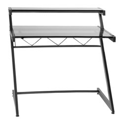 Euro Style - Z Deluxe Desk Medium+ Shelf - Graphite Black/Smoked Glass - The �Z's are the structural sidebars of this remarkably strong desk.  Top and main shelves are durable tempered glass and the cross bar is reinforced with angled spars.  Perfect for heavy thinking.