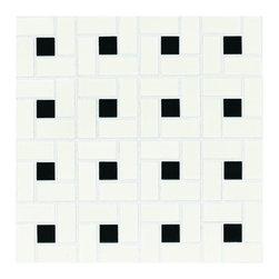 American Olean 10-pack Chloe Satin White with Gloss Black Floor Tile - Black and white checkered floor tile — why not!