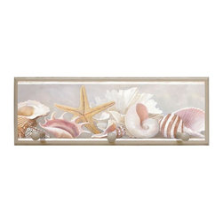 illumalite Designs - Starfish and Shells Plaque Coat Rack with Pegs - This charming nautical themed plaque is the perfect addition to any room. Measuring 7 in. by 20.5 in., this plaque is the ideal size to add a nautical touch to any wall. Features 3 painted wooden pegs to hold anything from coats to keys. The hand painted eggshell colored border highlights the beautiful design