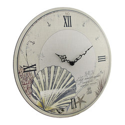 n/a - Round Beige Beach Themed Wall Clock 18 In. - This large round wall clock is a wonderful accent to nautical or beach themed decor in homes or offices. Made of wood, it measures 18 inches in diameter and features a lightly distressed ivory colored background with dark Roman numerals and hands to mark the time. It contains a quartz movement and runs on 1 AA battery (not included). This clock mounts to the wall with a single nail or screw by the metal triangle hanger on the back, and it is sure to be admired by all that view it.