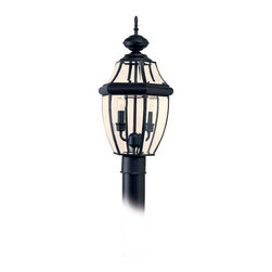 Sea Gull Lighting - Sea Gull Lighting Lancaster 2-light Black Outdoor Post Lantern - Create light anywhere in your yard when you install this traditional outdoor post lantern from Sea Gull Lighting. It features clear glass panels for maximum illumination,and it can be used in wet locations,which makes it ideal for a walkway.