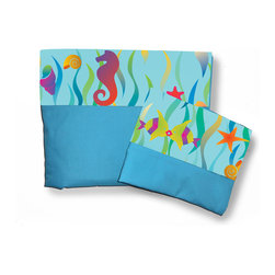 Room Magic - Tropical Seas Full Sheets/Pillowcase Set - Our Tropical Sea Full sheets set has a solid fitted sheet and a solid top sheet and pillowcase trimmed with a designer print border swirling with seaweed, kissing fish starfish and seahorses.  Available in Full size in the finest 100% Cotton poplin.