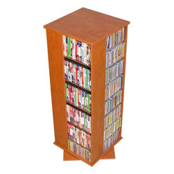 Venture Horizon - Multi-Media Storage Tower w Revolving Base in - No matter the size of your movie or music collection your favorites will always be close at hand with this revolving media tower, constructed of wood composites in a rich cherry finish. Ideal for all types of media, the unit rotates 360 degrees so the item you're looking for will be easily accessible. Rotates 360�. Huge storage capacity. Organizes all media. Constructed from durable, stain resistant and laminated wood composites that includes MDF. Made in the USA. Assembly required. Media storage capacity:. CD's : 928. DVD's : 416. Blu-ray's: 532. VHS tapes: 264. Disney tapes: 198. Audio cassettes: 900+. Weight: 85 lbs.. Shelf depth: 6 in.. Assembled size: 19.25 in. W x 19.25 in. D x 50 in. HOrganize an entire media collection. These 4 sided beauties will brighten up any room. Because they rotate a full 360�, you will never have to strain your neck locating your favorite CD, DVD, video or cassette. There are 5 models from which to choose so identifying the perfect match should be easy. Nearly all the shelves are adjustable so even odd sized media like Disney Tapes can be accommodated. Constructed from durable melamine laminated particle board these towers are stain resistant and easy to clean. The front panels and top/bottom panels on Models: 2021, 2022, 2381, 2391 and 2392 are gently molded and stylishly contoured to add real value. NEW! We just added a 2 sided Revolving Media Tower available in 2 sizes and 4 colors.