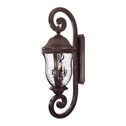 Karyl Pierce Paxton - Karyl Pierce Paxton KP-5-311-40 Monticello Transitional Outdoor Wall Sconce - A celebrated Savoy House family with Clear Watered glass.
