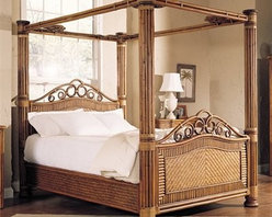 Legacy - Rattan and wicker are used together to create a sleep oasis fit for a beach cabana or any bedroom getaway.