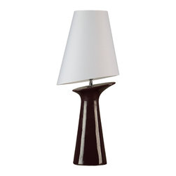 Cortesi Home - Torini Table Lamp - The Torini lamp is a ceramic base in an eggplant purple color. The lamp base presents an interesting cliff like slant which is also repeated in the asymmetry of the white shade. This taller table lamp is perfect for a desk or accent table. UL approved. ON/OFF switch on  plug-in cord. 40W Bulb Max (not included)