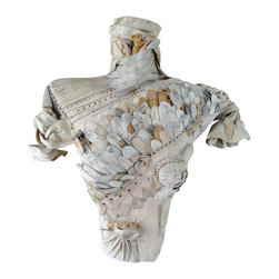 Torso In Mixed Media Wall Sculpture - This wall sculpture is a mix of found materials, vintage gloves and intimate wear,