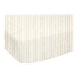 "SheetWorld - SheetWorld Fitted Youth Bed Sheet - Yellow Stripes Jersey Knit - Made In USA - This luxurious plush 100% cotton ""jersey knit"" youth bed sheet is what your baby deserves to sleep on. Our sheets are made of the highest quality fabric that's measured at 150 gsm (grams per square meter). That means these are softer than your favorite t-shirt, and as soft as flannel. Sheets are made with deep pockets and are elasticized around the entire edge which prevents it from slipping off the mattress, thereby keeping your baby safe. These sheets are so durable that they will last all through your baby's growing years. We're called sheetworld because we produce the highest grade sheets on the market today. Features a soft yellow pinstripe printed on a solid white background. Size: 33 x 66."