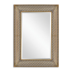 Uttermost - Uttermost Ariston Stamped Metal Mirror 13871 - Frame is made of stamped metal featuring an open design that allows wall color to show thru. Frame has a curved profile and is finished in heavily antiqued gold leaf. Mirror is beveled. May be hung horizontal or vertical.