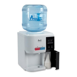 Avanti - Hot & Cold Water Dispenser - Avanti WD31EC Table Top Thermoelectric Water Cooler features selectable operational modes: normal or energy saver.  Lightweight and durable abs construction.  Silent thermoelectric technology (no compressor) for use at home or the office.  Full LED display for all functions.  Push button faucets for hot and cold drinking water (child safety guard on hot water faucet).  Built-in cup storage compartment.  Uses standard 2, 3, or 5 gallon bottles (bottles are not included).  Convenient drain plugs for both hot and cold water reservoirs.  Separate on/off power switches for hot and cold water operations.
