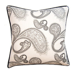 shopMACK - Lorelei Paisley Pillow, 24x24 - Elegant and charismatic, this pillow features a traditional paisley pattern in classy black on white. Sure to pair handsomely with any furnishings, our Lorelei Paisley Pillow will certainly bring its stylish charm to your space.
