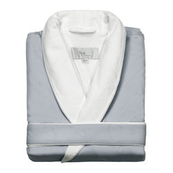 Kassatex - Kassatex Spa Bath Robe, Silver Sage - Pamper yourself without stripping in front of strangers. This luxurious bathrobe is like getting that spa feeling at home any time you want. It features a velvety microfiber exterior in your choice of colors with a generous shawl collar and soft contrasting lining. Go ahead — indulge yourself.