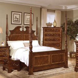 "American Woodcrafters - Wellington Manor Four Poster Bed - A traditional ensemble that will infuse style into your home with the classic form and historical richness. The aged patina of rich mahogany solids and veneers is further enhanced with contrasting Prima Vera inlaid borders on drawer fronts, top, bed panels, and the mirror. Features include carved swinging bails and etched edged keyhole escutcheons in an antique brass finish, fluted pilasters with lamb-tongue blocks are topped with heavy overhang tops and are ended in shaped block feet, 14.5"" deep drawers to provide extra storage space , and top drawers lined with felt to protect delicate items. Features: -Wellington Manor collection. -Mahogany solids and veneer construction. -Rich Mahogany finish. -Fluted pediment is made of resin. -Decorative panels with raised moldings and inlaid Prima Vera borders. -Broken pediment headboard with arched crown. -Headboard and footboard has two posts 86.5"" high pineapple finials with acanthus leaves. -Bed post base-foot. -Three slats with center supports and levelers of 60.75"". -Pineapple and lamb-tongue carved turnings on the post. -Additional slats provide extra support and eliminate the need for a foundation. -Manufacturer provides one year warranty from ship date."